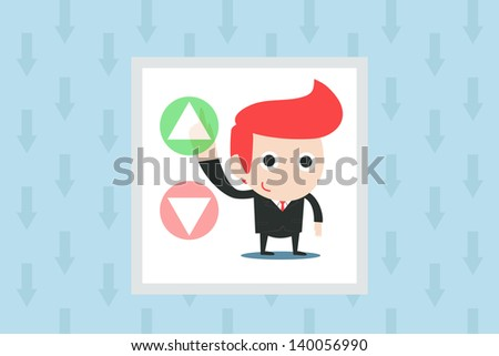 man pushing green button, vector - stock vector