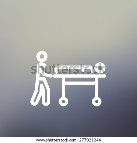 Man pushing the stretcher with sick person icon thin line for web and mobile, modern minimalistic flat design. Vector white icon on gradient mesh background.