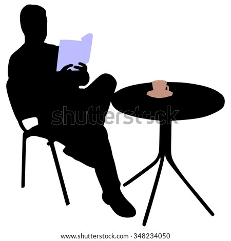 Man reading a book during coffee break - stock vector