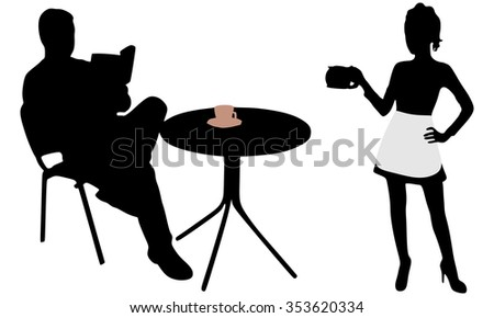 Man reading a book during coffee break, Waitress serving - stock vector
