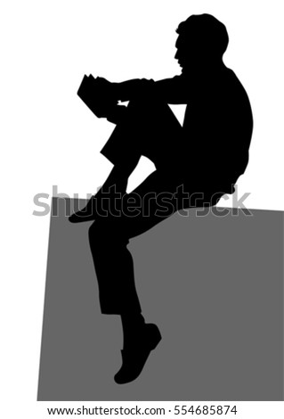 Man reading a book on a white background