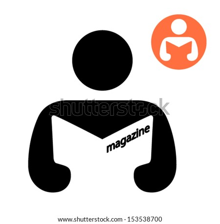 Man reading a magazine, library sign icon - stock vector