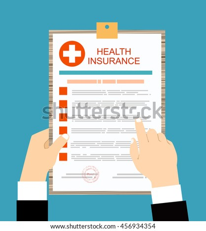 Man reading health insurance. Healthcare concept. Vector illustration flat design style