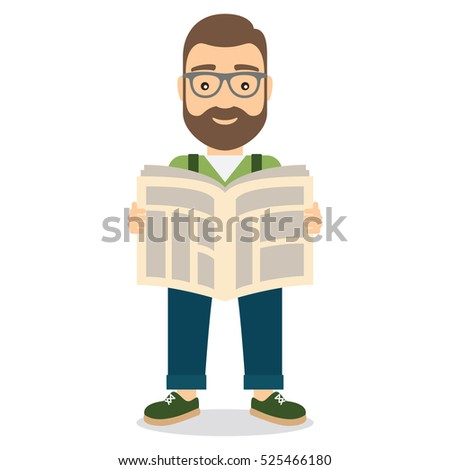 Man reading newspaper. Flat style vector illustration.