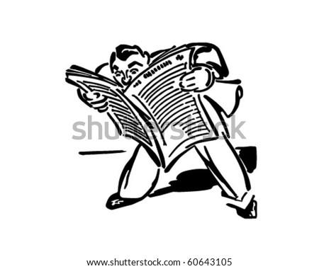 Man Reading Newspaper - Retro Clip Art - stock vector