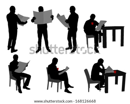 man reading newspaper silhouettes - stock vector