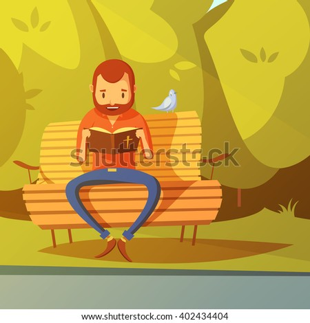 Man reading the Bible on a bench in the park cartoon background vector illustration  - stock vector