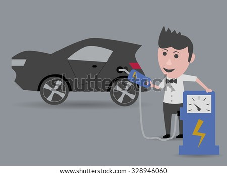 man refueling electric car
