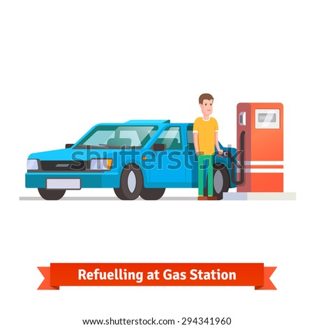 Man refuelling his car holding fuel hose at petrol station. Flat vector illustration isolated on white background. - stock vector