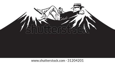 Man relaxing between mountain peaks - stock vector