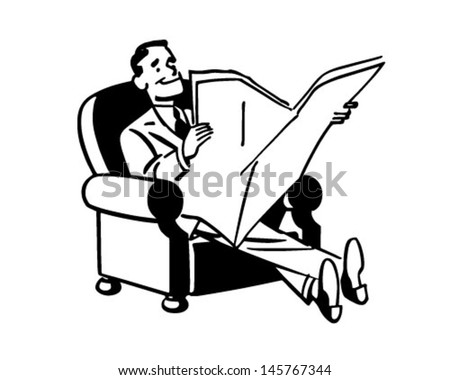 Man Relaxing With Newspaper - Retro Clip Art Illustration - stock vector