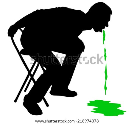 Man releasing a large stream of vomit, vector  - stock vector