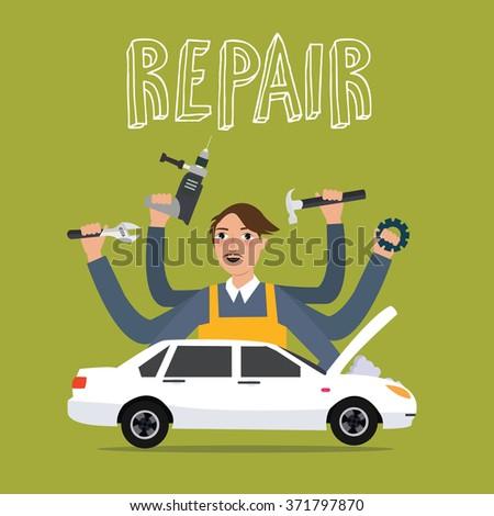 man repair car holding tools key hammer gear drill sedan - stock vector