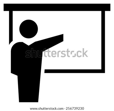 Man reporting at presentation icon - stock vector