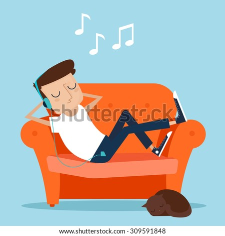 Man resting at home. Laying on sofa and listening music - stock vector