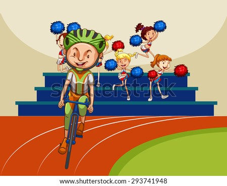 Man riding bicycle with cheerleaders in the background - stock vector