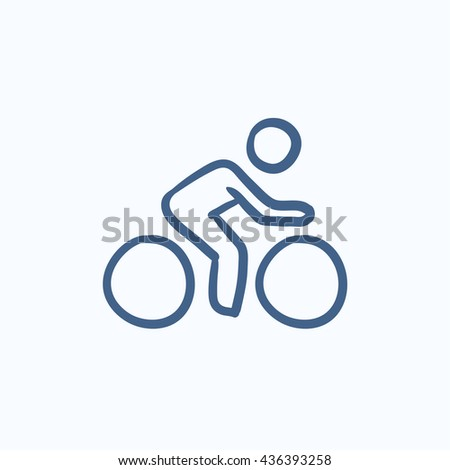Man riding  bike vector sketch icon isolated on background. Hand drawn Man riding  bike icon. Man riding  bike sketch icon for infographic, website or app. - stock vector