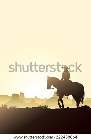 Man riding horse at sunrise - stock vector