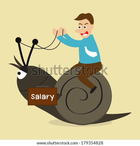 Man riding snail, salary concept. - stock vector
