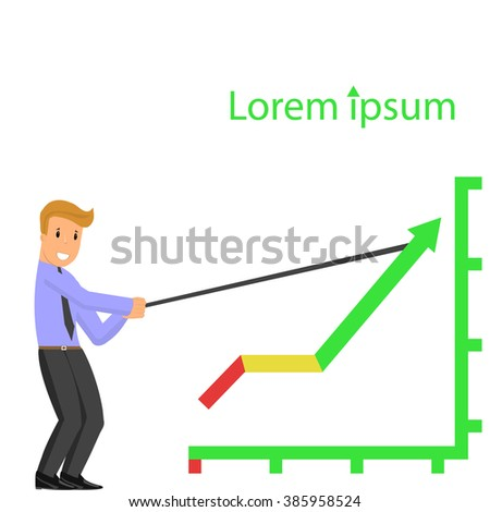 man rising the graph. Businessmen find the way to increase business profits, Business concept, VECTOR, EPS10 - stock vector