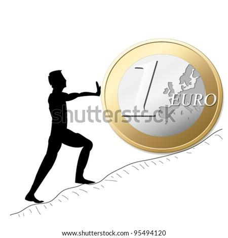 man rolling euro coin - stock vector