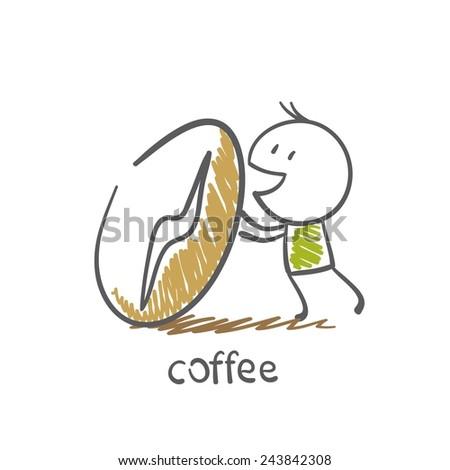 man rolls a large grain of coffee illustration - stock vector