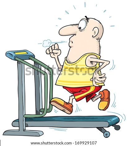 Man run on the treadmill.