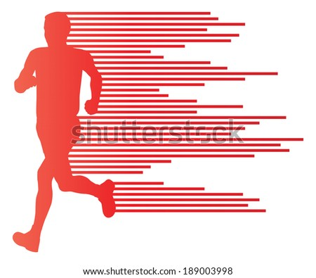 Man runner silhouette vector background template concept made of stripes - stock vector