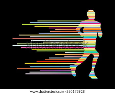Man runner silhouette vector background template concept made of stripes
