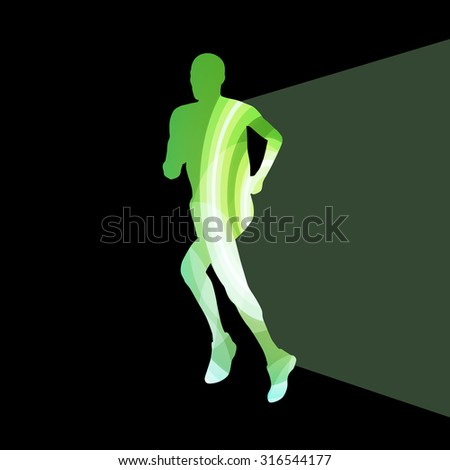 Man runner sprinter silhouette illustration vector background colorful concept made of transparent curved shapes