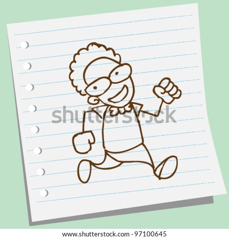 man running doodle illustration