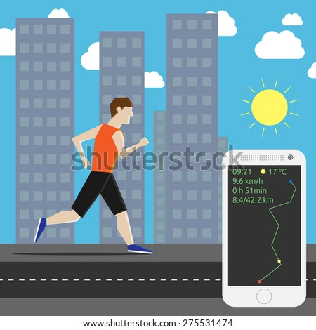 Man running his own personal marathon in the city and smartphone showing time, air temperature, speed and distance. EPS 10 vector illustration, no transparency - stock vector