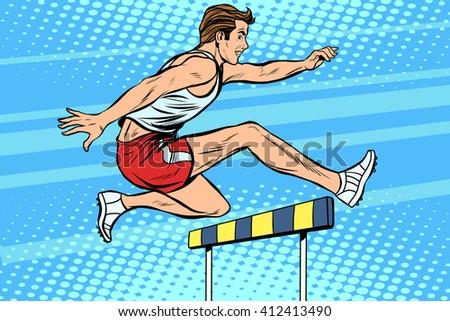 Man running hurdles athletics - stock vector