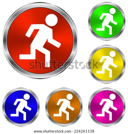 man running  icon - vector glossy colourful buttons