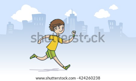 Man running in the city, hand drawn style - stock vector