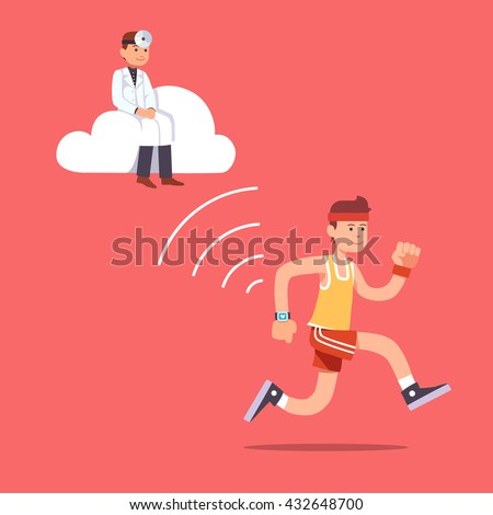 Man running jogging with a wrist smartwatch. Doctor hovering near on a computer cloud collecting essential patient health data to provide health care. Flat style vector illustration clipart. - stock vector