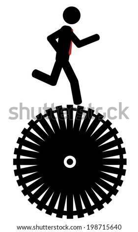 Man running on a wheel. - stock vector