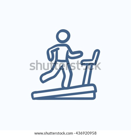Man running on treadmill vector sketch icon isolated on background. Hand drawn Man running on treadmill icon. Man running on treadmill sketch icon for infographic, website or app. - stock vector