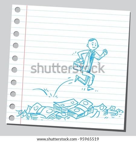 Man running over money