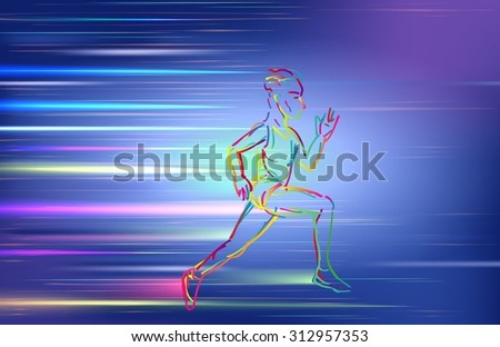 Man running, using colorful zigzag line on blue background. vector