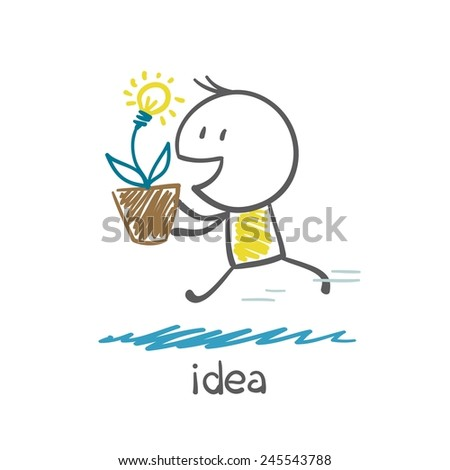 man running with a plant in the form of ideas light bulb illustration - stock vector
