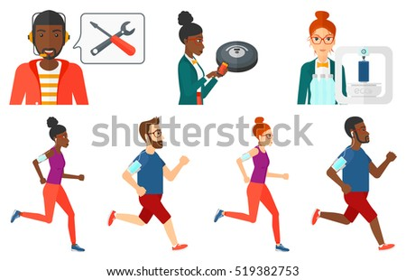 Man running with earphones and armband for smartphone. Running man listening to music on smartphone. Man running with smartphone. Set of vector flat design illustrations isolated on white background.