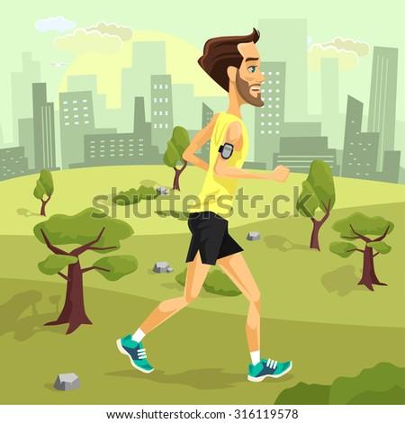 Man runs. Vector flat cartoon illustration - stock vector