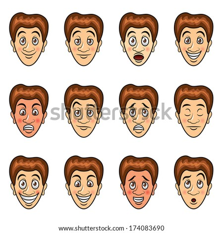 Man's emotions and expressions cartoon vector set