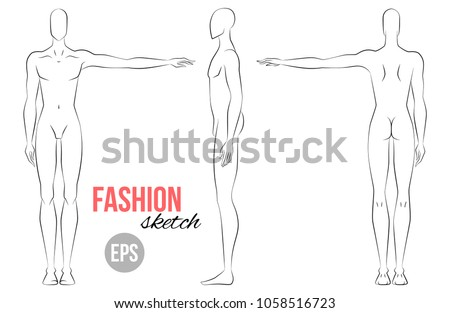 Mans Figure Sketch Different Poses Technical Stock Vector 1058516723 ...