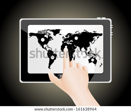Man's finger pointing on the touch screen tablet PC with world map - stock vector
