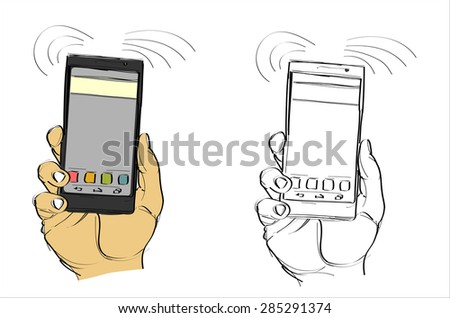 Man's hand holding a smart phone. Hand drawn isolated vector sketch on white background. - stock vector