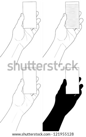 Man's hand holding visit card - stock vector