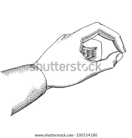 Man's hand holds - stock vector
