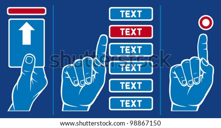 man's hand inserting card into machine and man's hand push button - stock vector